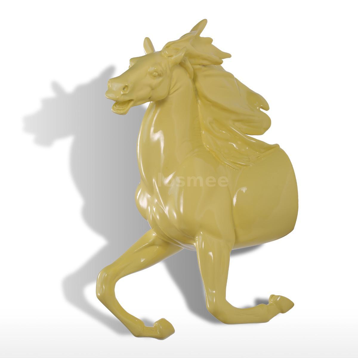 Sculpture Resin Running Horse Wall Decor(Yellow) Wall Hook Coat Hat ...