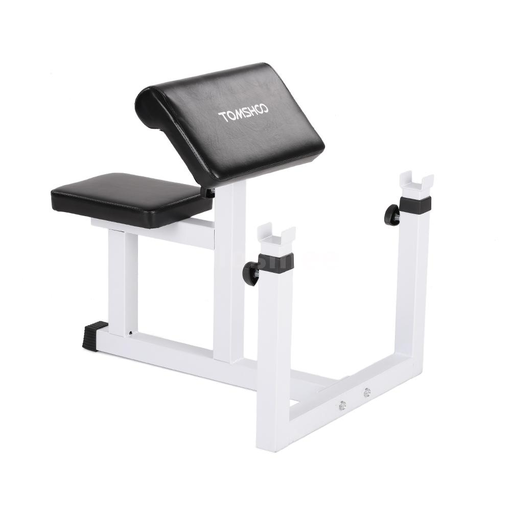 Adjust Biceps Arm Preacher Curl Bench Barbell Rack W 44lb Lifting Barbell Set Ebay