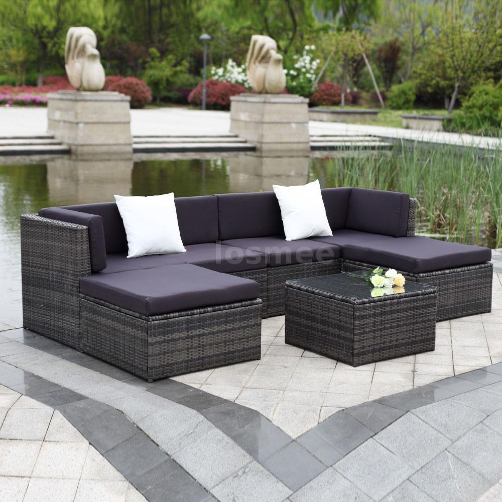 9pcs Garden Outdoor Rattan Sofa Set Patio Wicker Couch Sectional Furniture W3j6
