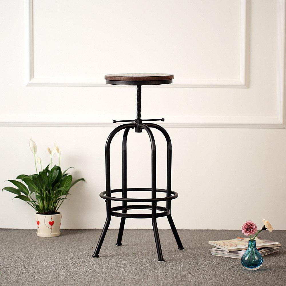 Vintage Bar Stool Adjustable Seat Height Counter Top Chair: IKayaa Vintage Bar Stool Metal Wood Top Height Adjustable