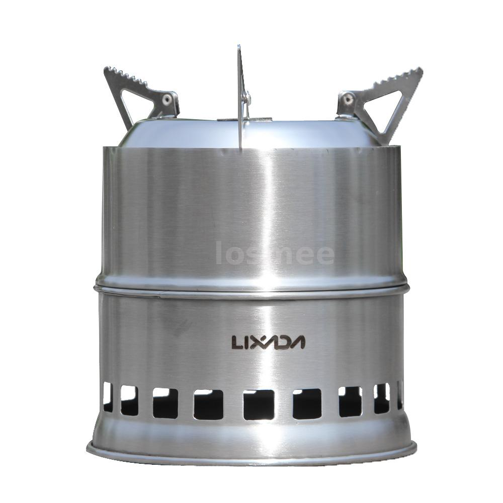 Portable stainless steel wood stove outdoor cooking