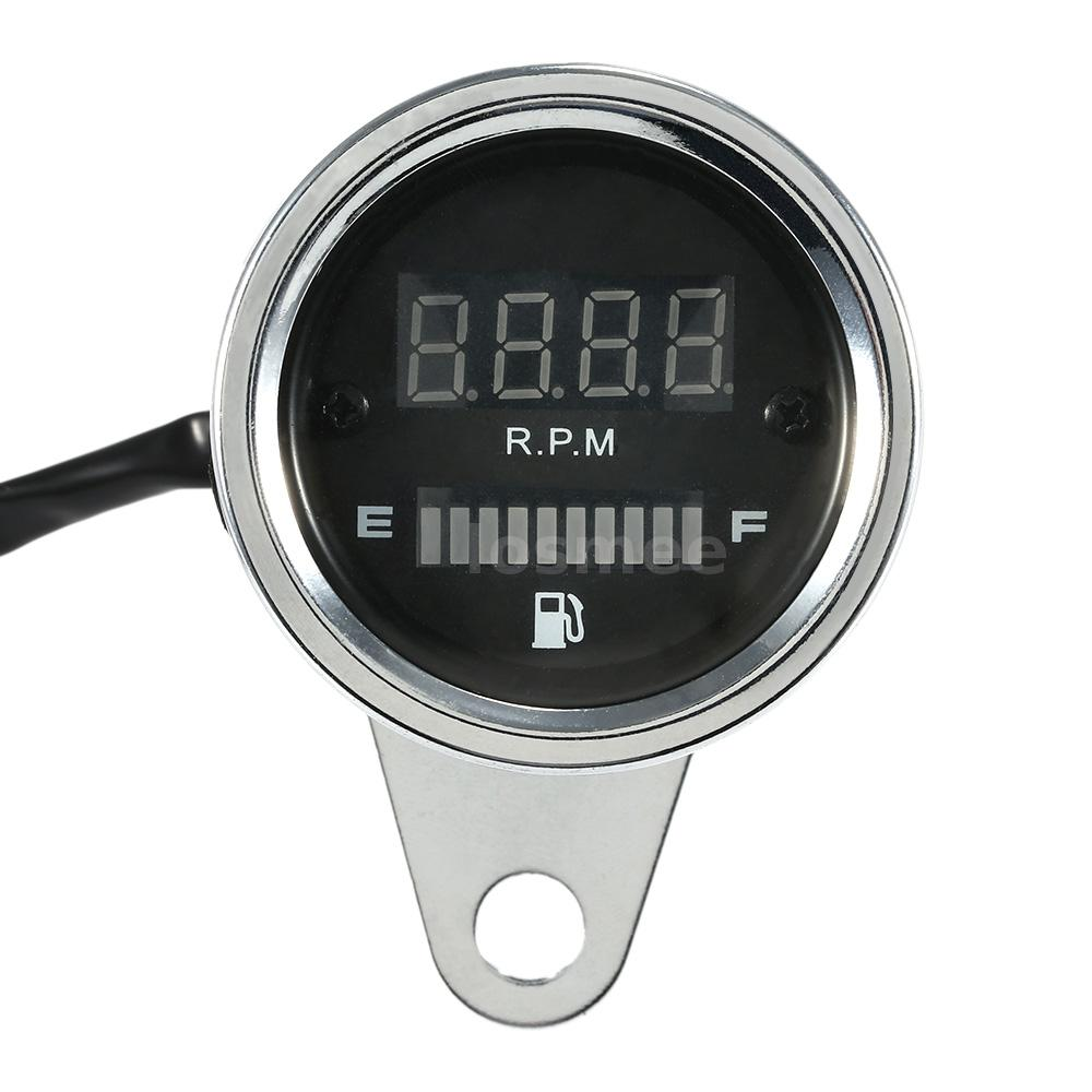 12V Motorcycle Fuel Gauge Tachometer Meter RPM Shift Digital LED Indicator K7W1
