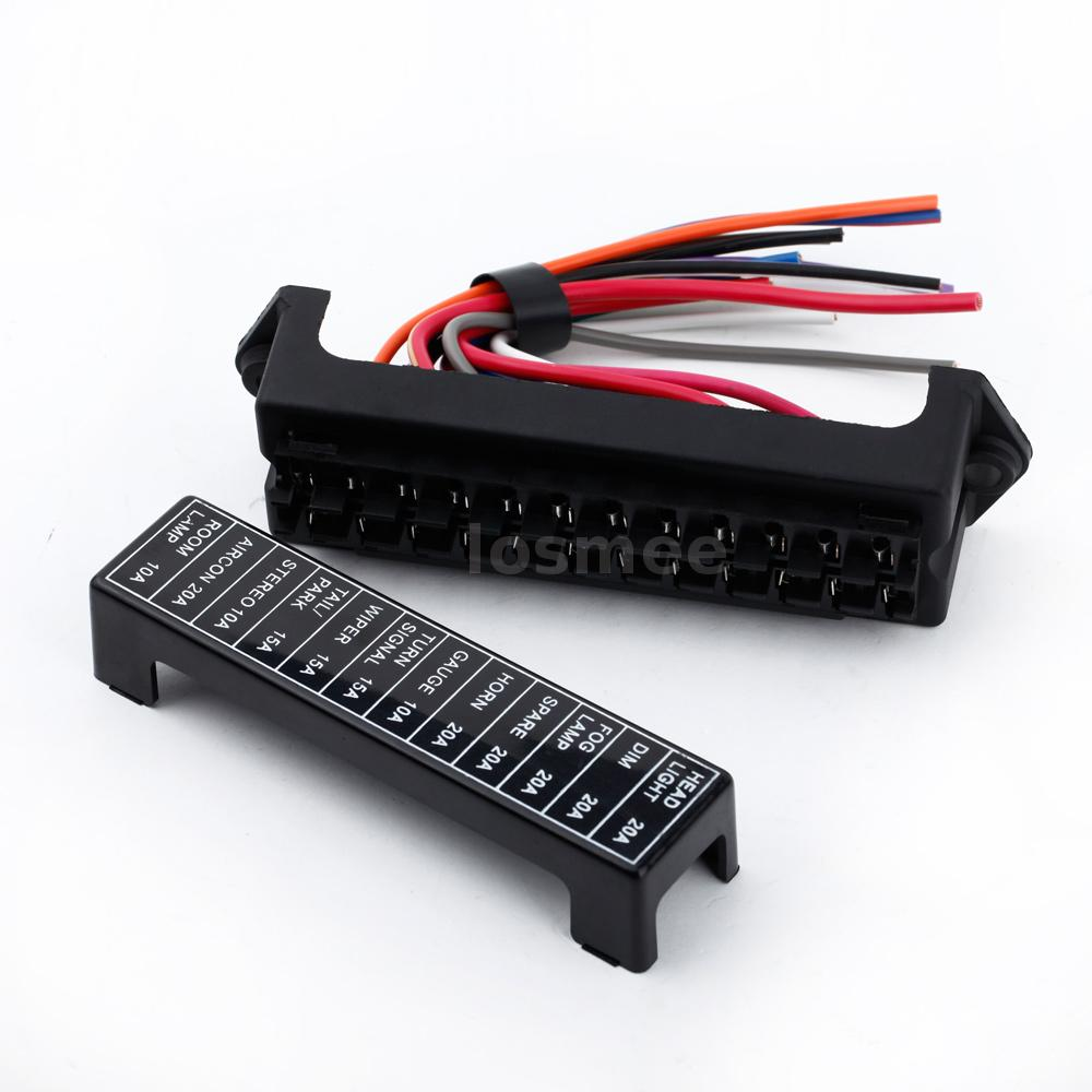 32v 12 way circuit car automotive blade fuse box block. Black Bedroom Furniture Sets. Home Design Ideas