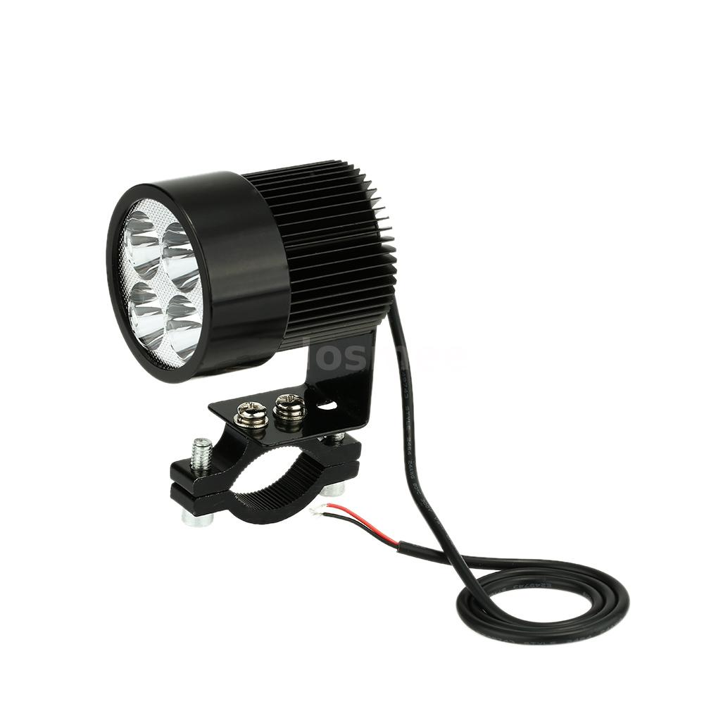 universal 12v 80v 20w black led headlight lamp motorcycle e bike 6000k x6mb ebay. Black Bedroom Furniture Sets. Home Design Ideas