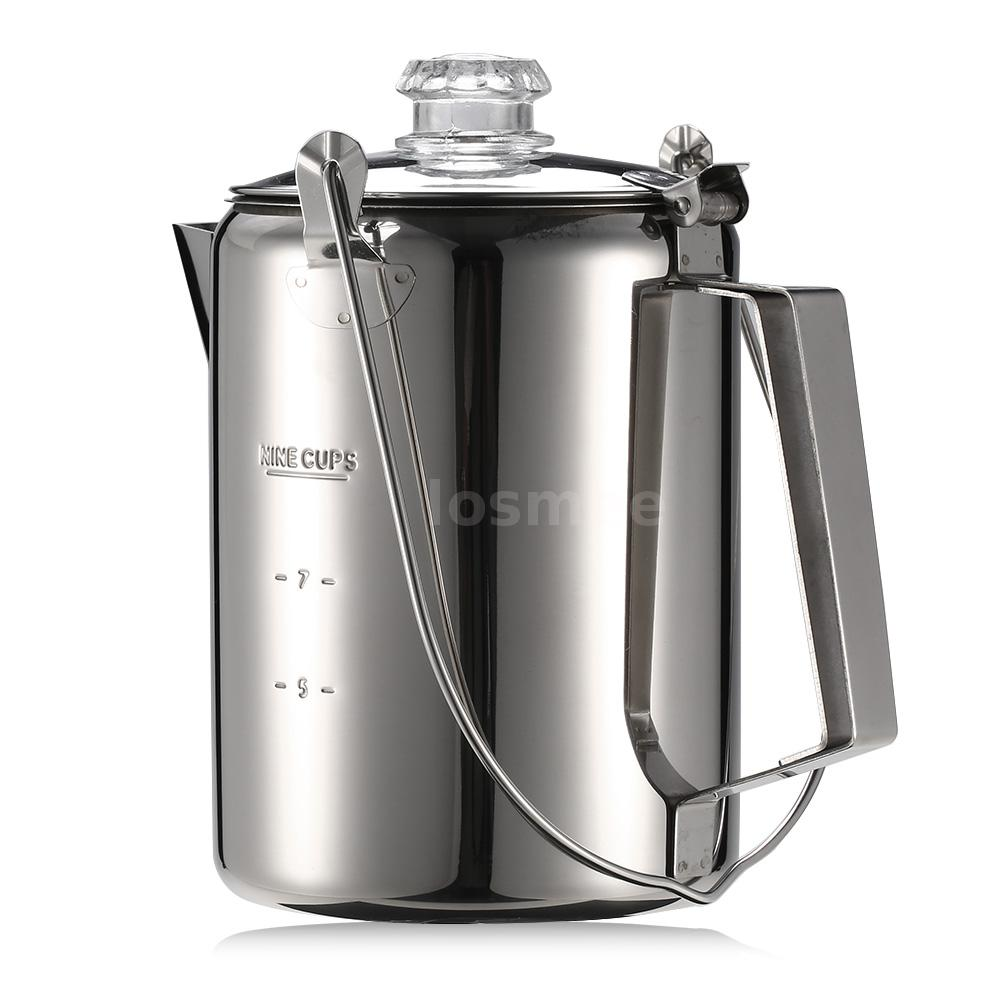 Outdoor Camp Stainless Steel Percolator Coffee Maker 9 Cup Coffee Tea Pot G3K4